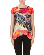 Joseph Ribkoff Orange/Fuchsia/Black Top Style 171628