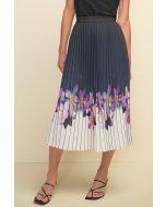 Joseph Ribkoff Midnight/Purple/Multi Pleated Skirt Style 211956