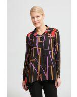 Joseph Ribkoff Black/Multi Geometric Print Blouse Style 213268