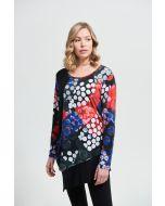 Joseph Ribkoff Black/Multi Abstract Print Top Style 213372