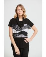 Joseph Ribkoff Black/Vanilla Woven Geometric Top Style 213608