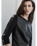 Joseph Ribkoff Black Faux Leather Top Style 213624