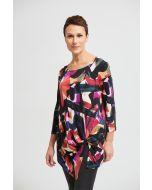 Joseph Ribkoff Black/Multi Asymmetrical Top Style 213636