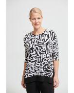 Joseph Ribkoff Black/Vanilla Abstract Printed Top Style 213676