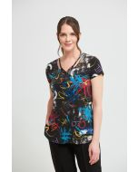 Joseph Ribkoff Black/Multi Printed Top Style 213704