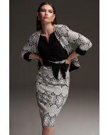 Joseph Ribkoff Black/White Lace Motif Bolero Style 213718
