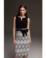 Joseph Ribkoff Black/White Lace Motif Dress Style 213717