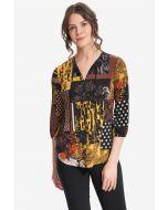 Joseph Ribkoff Black/Multi Patchwork Top Style 214303