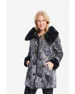 Joseph Ribkoff Black/Grey Newspaper Print Coat Style 214934 -1