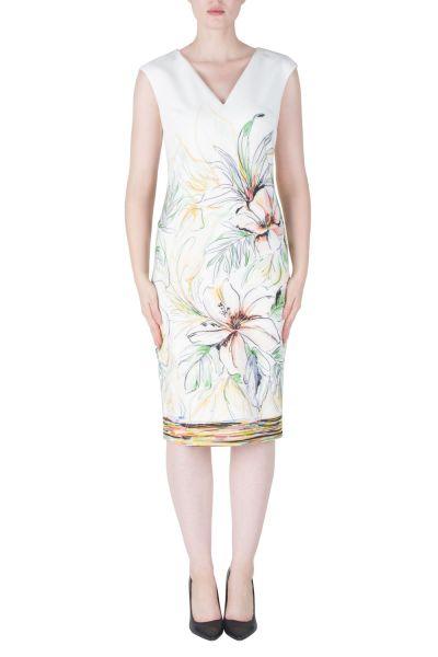 Joseph Ribkoff White/Yellow/Green Dress Style 171658