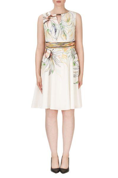 Joseph Ribkoff White/Yellow/Green Dress Style 171659