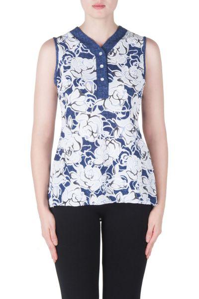 Joseph Ribkoff Denim Blue/White Top Style 171746 - Front