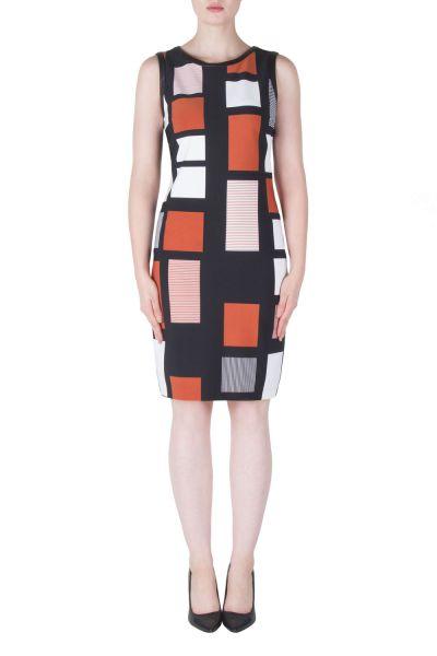 Joseph Ribkoff Black/Cognac/Cream Dress Style 171776