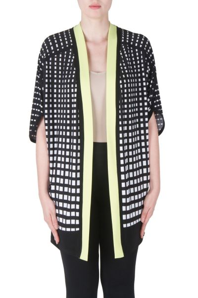 Joseph Ribkoff Black/White/Key Lime Cover Up Style 171873