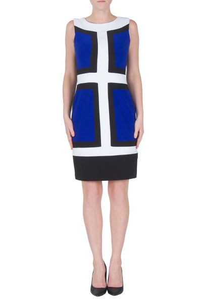 Joseph Ribkoff Black/Vanilla/Royal Sapphire Dress Style 172010