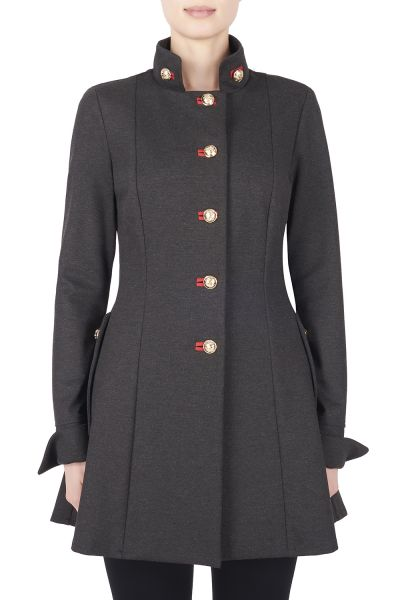 Joseph Ribkoff Charcoal Grey/Ruby Coat Style 173308
