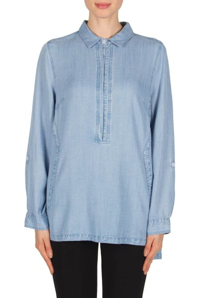 Joseph Ribkoff Denim Blue Blouse Style 181950