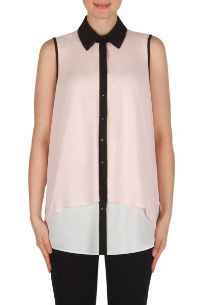 Joseph Ribkoff Powder Pink/Off-White/Black Blouse Style 182268