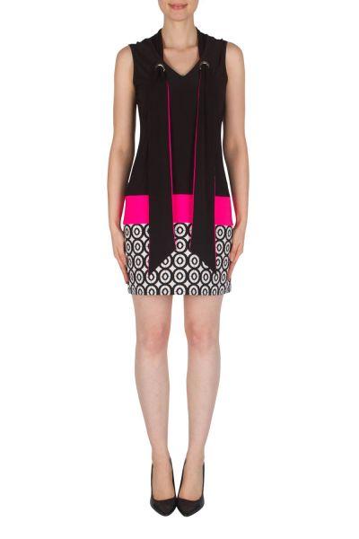 Joseph Ribkoff Black/White/Neon Pink Tunic/Dress Style 182529