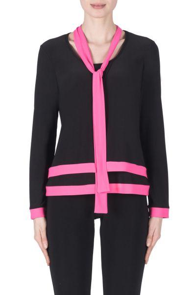 Joseph Ribkoff Black/Neon Pink Top Style 183177