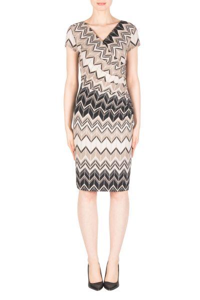 Joseph Ribkoff  Black/White/Taupe Dress Style 183638