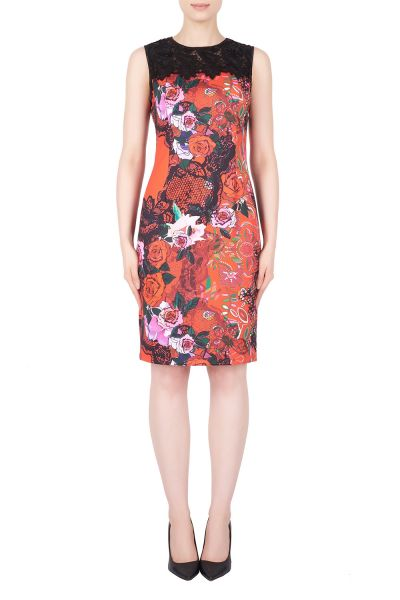 Joseph Ribkoff Red/Multi/Black Dress Style 184717