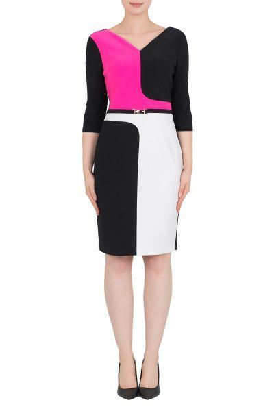 Joseph Ribkoff Black/Vanilla/Neon Pink Dress Style 191023X