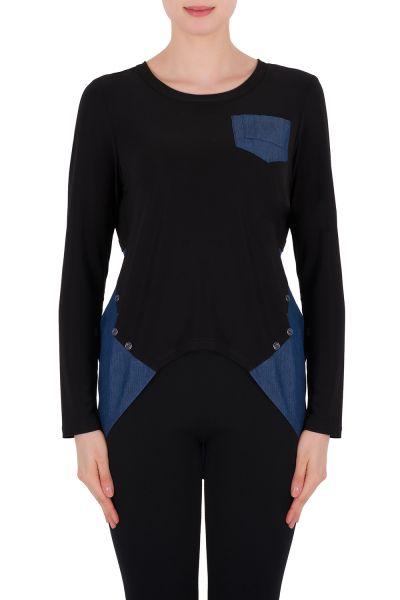 Joseph Ribkoff Denim Blue/Black Top Style 191480