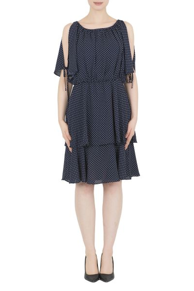 Joseph Ribkoff Midnight Blue/White Dress Style 191609