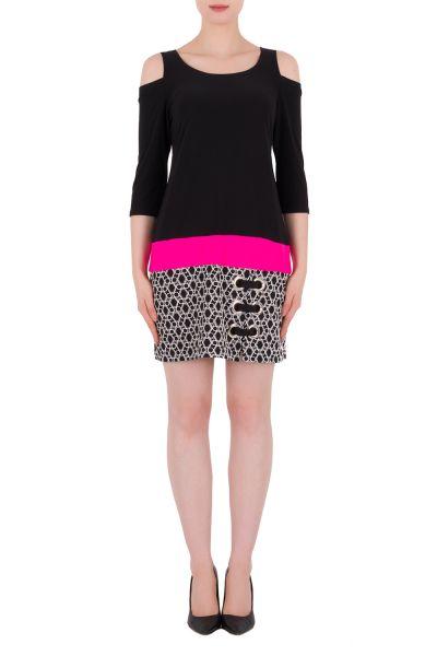Joseph Ribkoff Black/White/Neon Pink Dress Style 191687