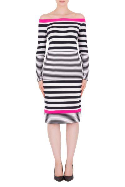 Joseph Ribkoff Midnight Blue/Vanilla/Neon Pink Dress Style 191924
