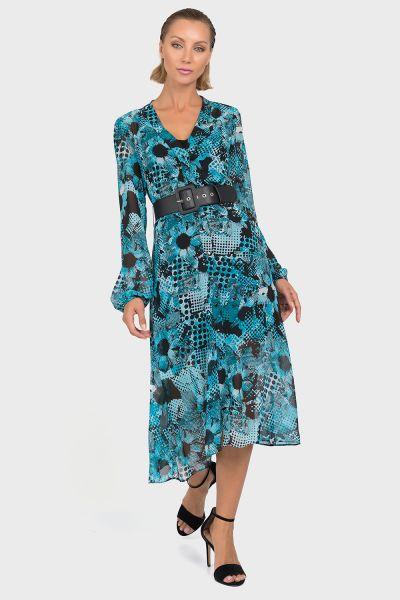 Joseph Ribkoff Black/Aqua Two Piece Dress Style 192608