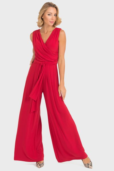 Joseph Ribkoff Lipstick Red Jumpsuit Style 193050