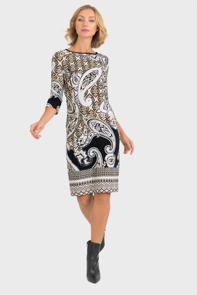Joseph Ribkoff Black/Tan/Ivory Dress Style 193667