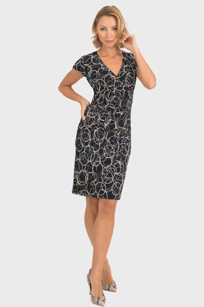 Joseph Ribkoff Black/Beige/Silver Dress Style 193685