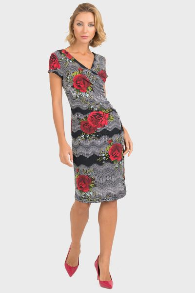 Joseph Ribkoff Black/Red Dress Style 193687