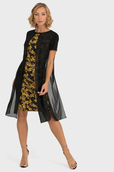 Joseph Ribkoff Black/Gold Dress Style 193698
