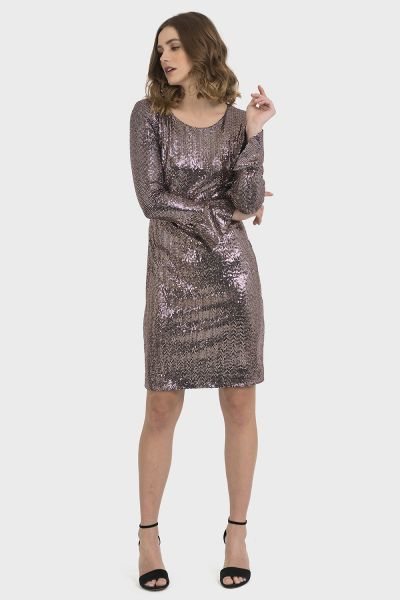 Joseph Ribkoff Black/Rose Gold Dress Style 194538