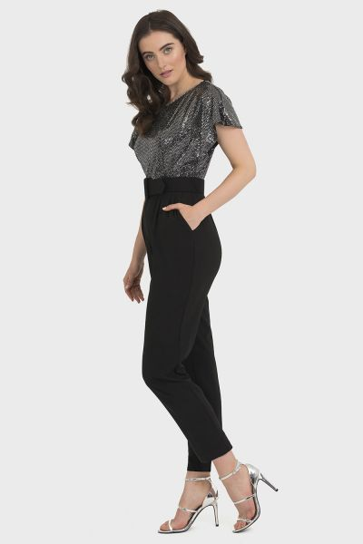 Joseph Ribkoff Black/Silver Jumpsuit Style 194542