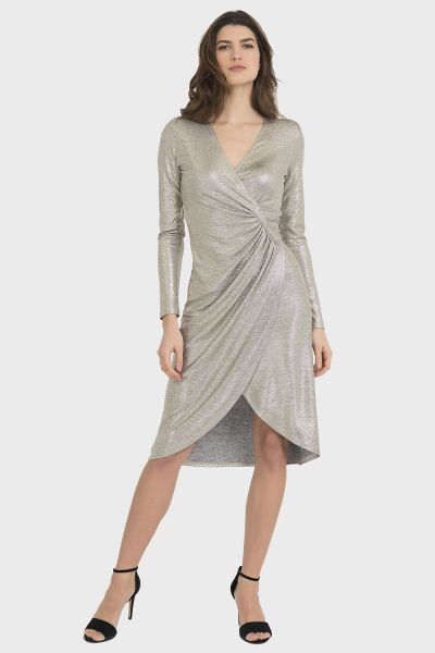 Joseph Ribkoff Grey/Gold Dress Style 194550