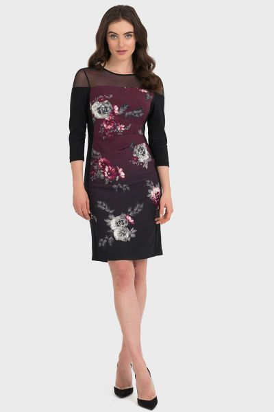 Joseph Ribkoff Black/Cabernet Dress Style 194670