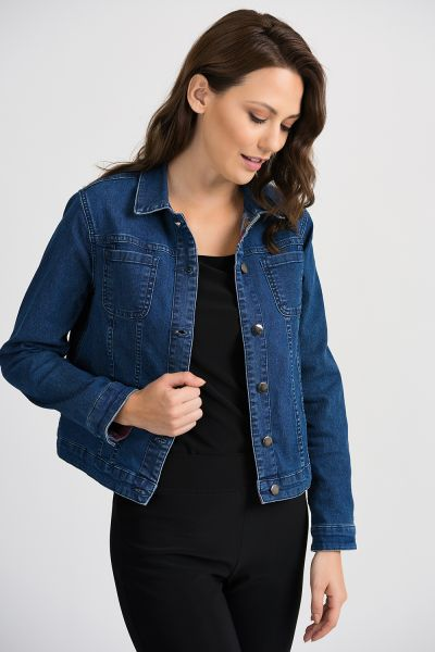 Joseph Ribkoff Denim Blue Reversible Jacket Style 201104