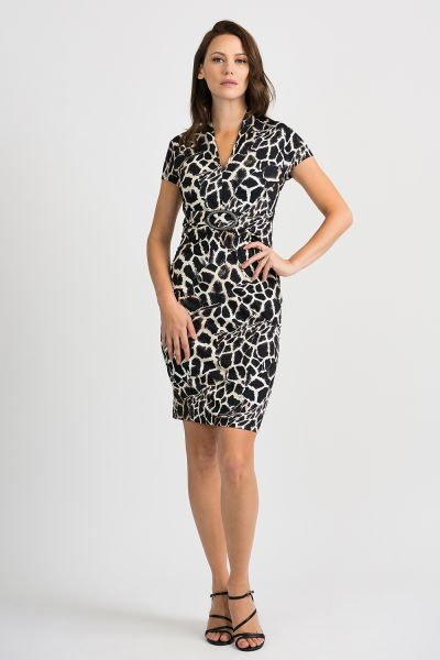 Joseph Ribkoff Black/Beige Dress Style 201368