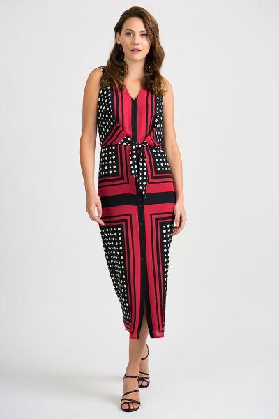 Joseph Ribkoff Black/Vanilla/Lipstick Red Dress Style 201462