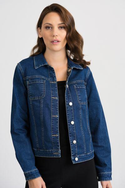 Joseph Ribkoff Denim Blue/Multi Reversible Jacket Style 201530