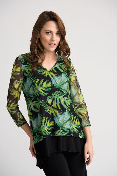 Joseph Ribkoff Black/Green/Multi Tunic Style 202304