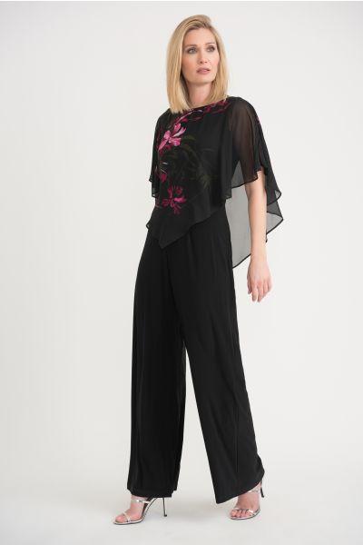 Joseph Ribkoff Black/Pink Jumpsuit Style 203265