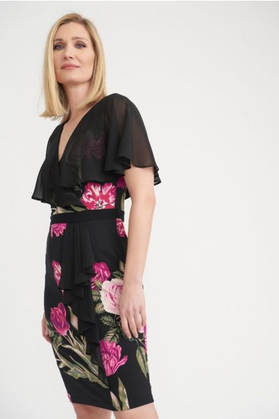 Joseph Ribkoff Floral Print Sheer Cover Dress Style 203355