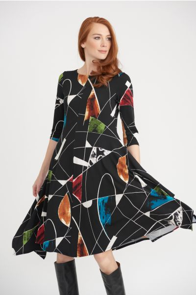 Joseph Ribkoff Black/Multi Dress Style 203426