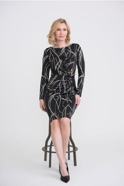 Joseph Ribkoff Black/Ivory/Gold Dress Style 204270